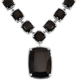 24.75 Ct Elite Shungite Art Deco Inspired Necklace in Platinum Plated Silver 22.50 Grams 18 Inch
