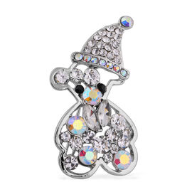 Set of 2 - Multi Colour Austrian Crystal, Simulated Pearl and Simulated Diamond Brooch or Pendant in