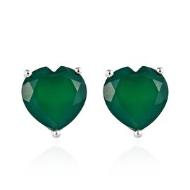 Verde Onyx (Hrt 12 mm) Solitaire Stud Earrings (with Push Back) in Sterling Silver 9.00 Ct.