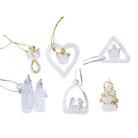 Set of 6 - Glass Decoration Hanging Angel, Heart, Triangle, Candle, Basket and Tree (Size 4.8- 5.1 C
