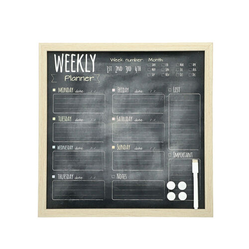Weekly Planner Board (included- Magnetic Marker with Eraser Cap, 4 Magnet) (Size 40x40cm) - Black