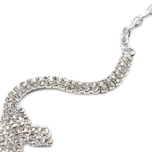 Christmas Gift Idea - 2 Piece Set White Austrian Crystal Earrings (with Push Back) and Necklace (Size 22 with 2 Inch Extender) in Silver Tone - Waterfall