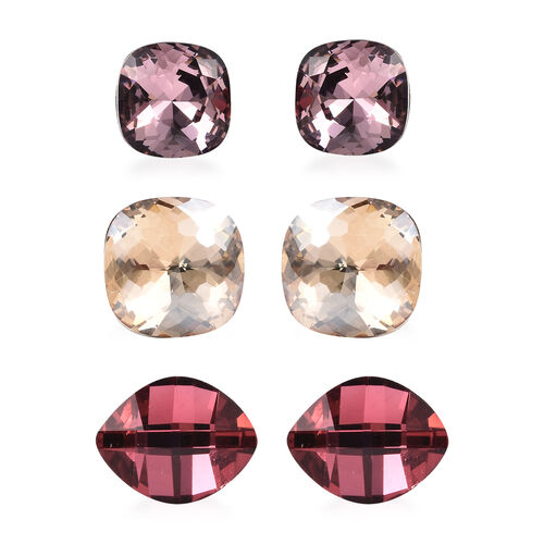 Set of 3 - Simulated Rose Quartz, Simulated Ruby and Simulated Champagne Diamond Stud Earrings (with