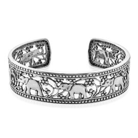 Royal Bali Collection Sterling Silver Elephant Cuff Bangle (Size 7.5), Silver wt 29.18 Gms