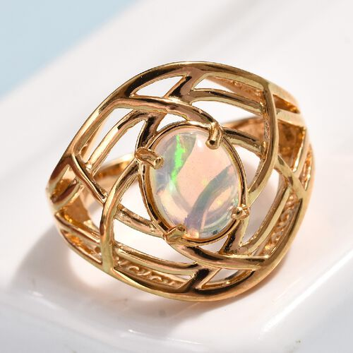 Ethiopian Welo Opal (Ovl) Solitaire Ring in 14K Gold Overlay Sterling Silver 1.00 Ct.