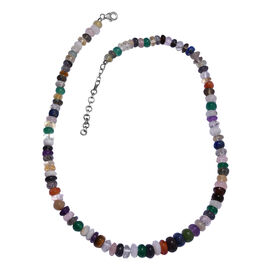 Multi Gemstones Necklace in Platinum Plated Sterling Silver Size 18 with 2 Inch Extender