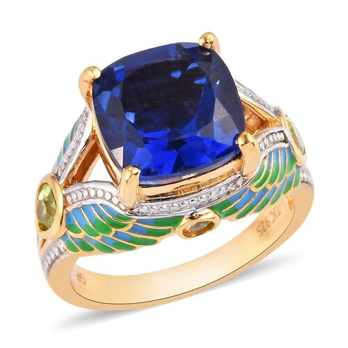 GP Ceylon Quartz, Hebei Peridot and Blue Sapphire Enamelled Ring in 14K Gold Overlay Sterling Silver