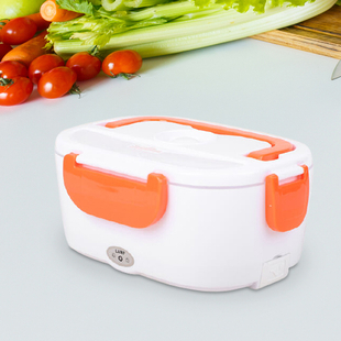 Portable Electric Heating Lunch Box in White & Orange (Size:23.5x16.5x10.5cm)