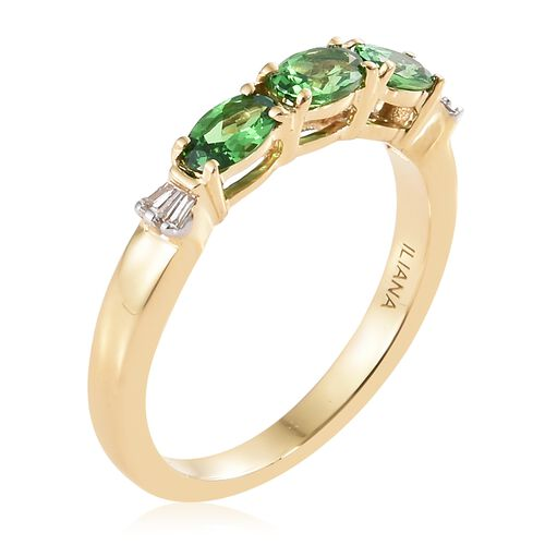 ILIANA - 18K Yellow Gold Tsavorite Garnet (Ovl) Band Ring 0.800 Ct.