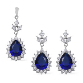 2 Piece Set - ELANZA Simulated Blue Sapphire (Pear 13x10 mm), Simulated Diamond Drop Dangle Earrings