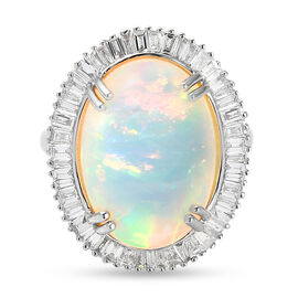 RHAPSODY 950 Platinum AAAA Ethiopian Welo Opal and Diamond (VS/E-F) Ring 10.28 Ct, Platinum wt. 9.72