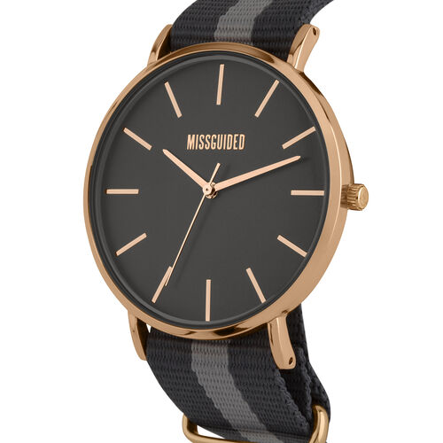 MISSGUIDED Watch with Rose Gold Case, Cool Grey Satin Dial and Grey Stripe Strap