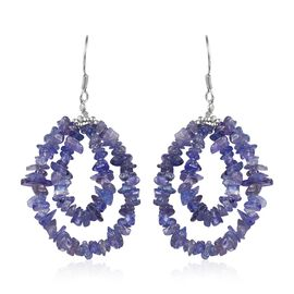 40.50 Ct Tanzanite Hook Earrings in Sterling Silver
