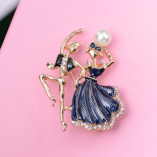Simulated Pearl and White Austrian Crystal Enamelled Couple Brooch in Gold Tone