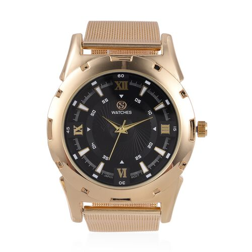 STRADA Japanese Movement Water Resistant Black Dial Watch with Gold Strap