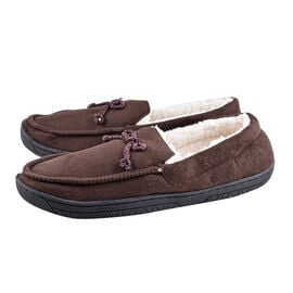 Brown Colour Mens Microfibre Moccasin Slippers (Size 11)
