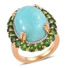 13.75 Ct Natural Peruvian Amazonite and Russian Diopside Halo Ring in Gold Plated Sterling Silver