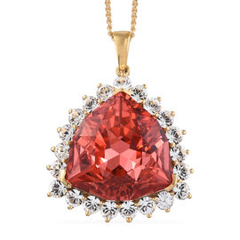 Rare Size Padparadscha Swarovski Crystal (Trl 24 mm),White Colour Crystal Pendant With Chain (Size 30) in 14K Gold Overlay Sterling Silver