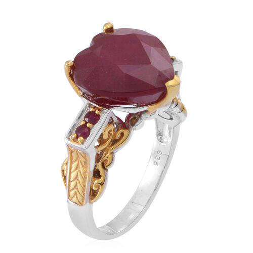 African Ruby (Hrt 15.00 Ct), Burmese Ruby Ring in Rhodium Plated and Yellow Gold Overlay Sterling Silver 15.250 Ct.