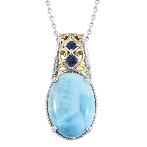 Larimar (Ovl), Natural Cambodian Zircon and Iolite Pendant with Chain in Platinum Overlay Sterling S