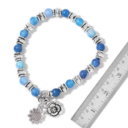 Set of 5 - Multi Colour Stretchable Beads Bracelet (Size 6.50) in Silver Tone