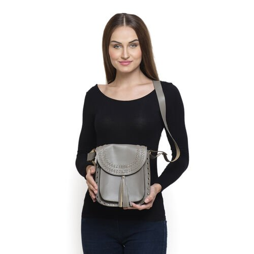 100% Genuine Leather Grey Colour Crossbody Bag with Shoulder Strap