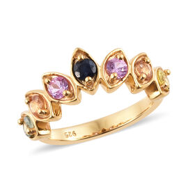Multi Sapphire (Rnd) Wishbone Ring in 14K Gold Overlay Sterling Silver 1.000  Ct