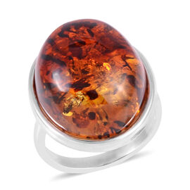 Baltic Amber (Ovl) Ring in Sterling Silver