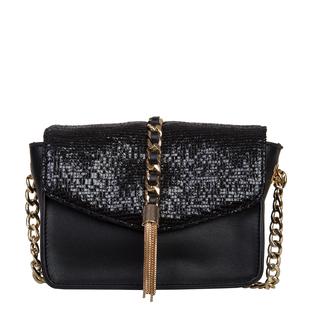 Bulaggi Collection - Calla Crossbody Bag with Metallic Pattern Flap and Adjustable Shoulder Strap (17x13x8cm) - Black