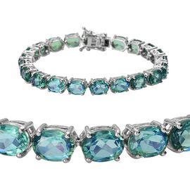 Peacock Quartz (Ovl 8x6 mm) Bracelet (Size 7) in Platinum Overlay Sterling Silver 33.00 Ct, Silver w