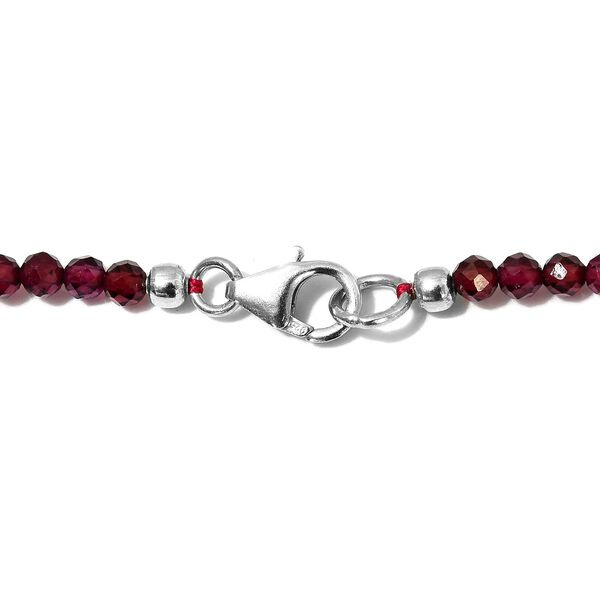 Rhodolite Garnet (Rnd) Beads Necklace (Size 18) with Lobster Lock in Rhodium Overlay Sterling Silver 38.00 Ct.
