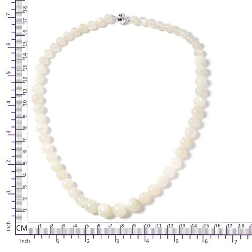 Extremely Rare- Natural Sri Lankan Silver Moonstone (Rnd) Beads Necklace (Size 20) in Rhodium Overlay Sterling Silver with Magnetic Clasp 296.000 Ct