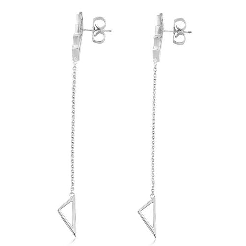 LucyQ Art Deco Earrings (with Push Back) in Rhodium Plated Sterling Silver, Silver wt 5.87 Gms.