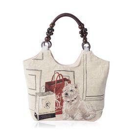 Beige Colour Dog Pattern Tote Bag (Size 43x27x10.5 Cm)
