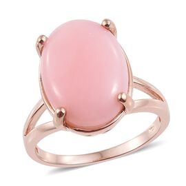 8.50 Ct Peruvian Pink Opal Solitaire Ring in Rose Gold Plated Sterling Silver 6.35 Grams