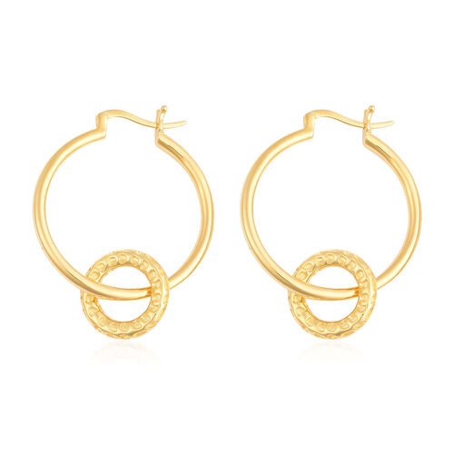 RACHEL GALLEY Allegro Collection - Yellow Gold Overlay Sterling Silver Mini Loop link Earrings (with Detachable Clasp), Silver wt. 11.21 Gms