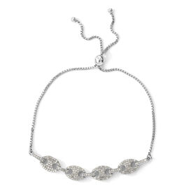 1 Carat Diamond Mariner Link Bolo Bracelet in Platinum Plated Sterling Silver 5.11 Grams