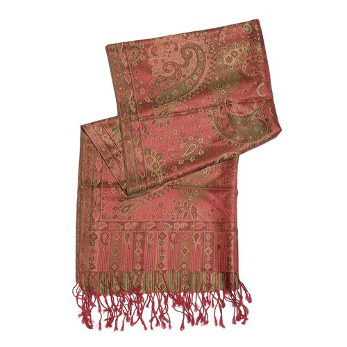SILK MARK - 100% Superfine Silk Olive Green and Multi Colour Jacquard Jamawar Scarf with Fringes at the Bottom (Size 180x70 Cm) (Weight 125 - 140 Gms)