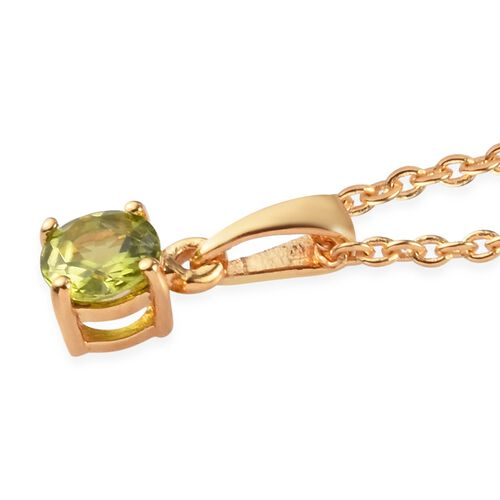 2 Piece Set - Hebei Peridot Pendant with Chain (Size 18) and Stud Earrings (with Push Back) in 14K Gold Overlay Sterling Silver 1.45 Ct.