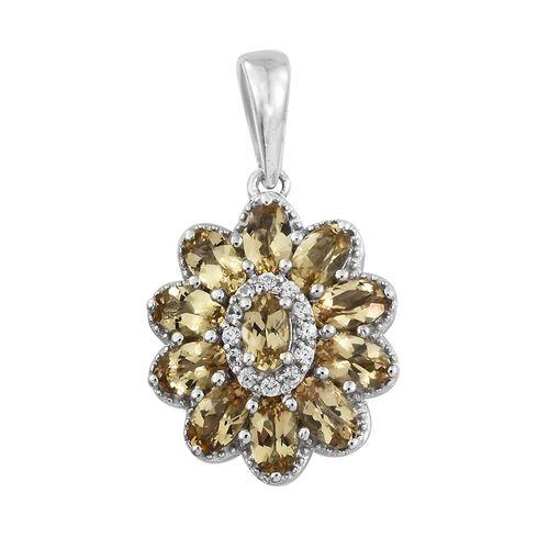 Heliodor (Ovl), Natural Cambodian Zircon Flower Pendant in Platinum Overlay Sterling Silver 2.500 Ct.