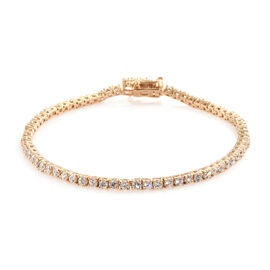 J Francis Made with Swarovski Zirconia Tennis Bracelet in Gold Plated Sterling Silver 8 Grams