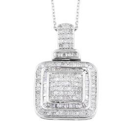 Diamond (Rnd and Bgt) Pendant With Chain (Size 18) in Platinum Overlay Sterling Silver 0.75 Ct, Silv