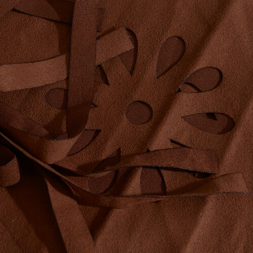Italian Designer Inspired-Laser Cut Pattern Chocolate Colour Scarf with Fringes (Size 120x70 Cm)