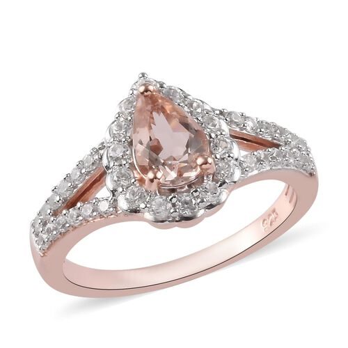 1.25 Ct Marropino Morganite and Zircon Halo Ring in Rose Gold Plated Sterling Silver