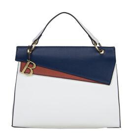 Bulaggi Collection Diva White Handbag with Navy and Tan Flap