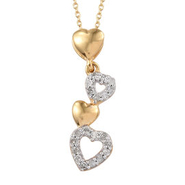 GP Diamond (Rnd), Kanchanaburi Blue Sapphire Heart Pendant With Chain (Size 20) in 14K Yellow Gold O