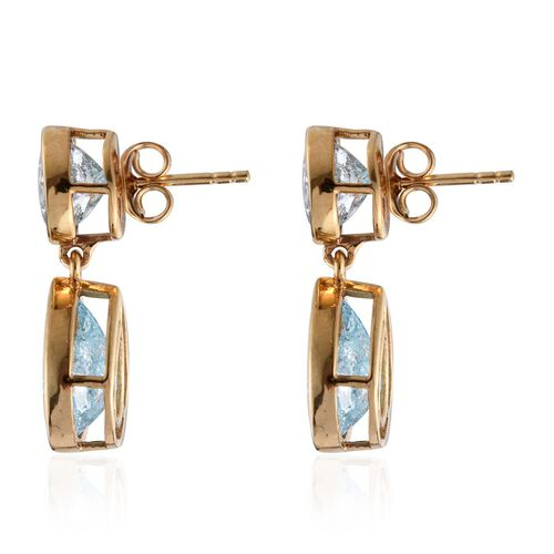 Paraiba Blue Crackled Quartz (Pear) Earrings (with Push Back) in 14K Gold Overlay Sterling Silver 10.000  Ct.