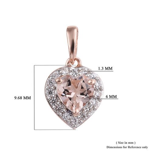 Marropino Morganite (Hrt), Natural Cambodian Zircon Pendant in Rose Gold Overlay Sterling Silver 0.750 Ct.