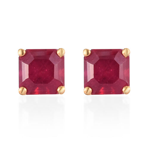 African Ruby (Asscher Cut) Solitaire Stud Earrings (with Push Back) in 14K Gold Overlay Sterling Sil