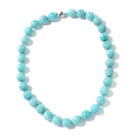 Russian Amazonite (Rnd 13-15mm) Beads Necklace (Size 20) in Rhodium Overlay Sterling Silver 535.000 Ct.